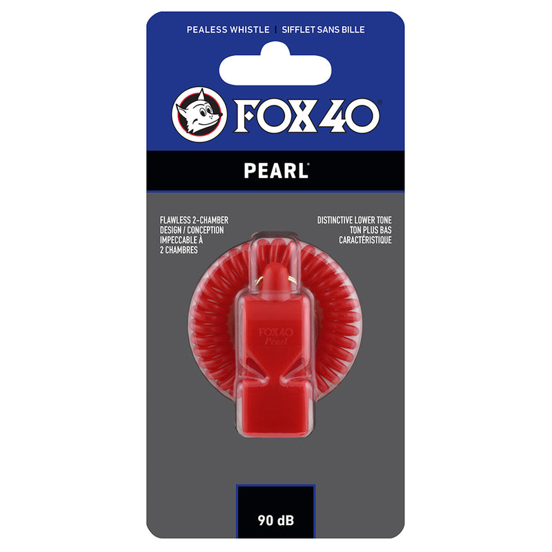 Sifflet d'arbitre avec attache Flex-Coil Fox 40 Pearl Safety rouge