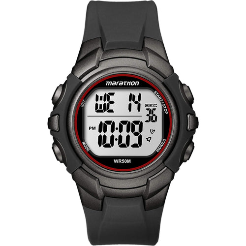montre timex marathon digital full size noir rouge