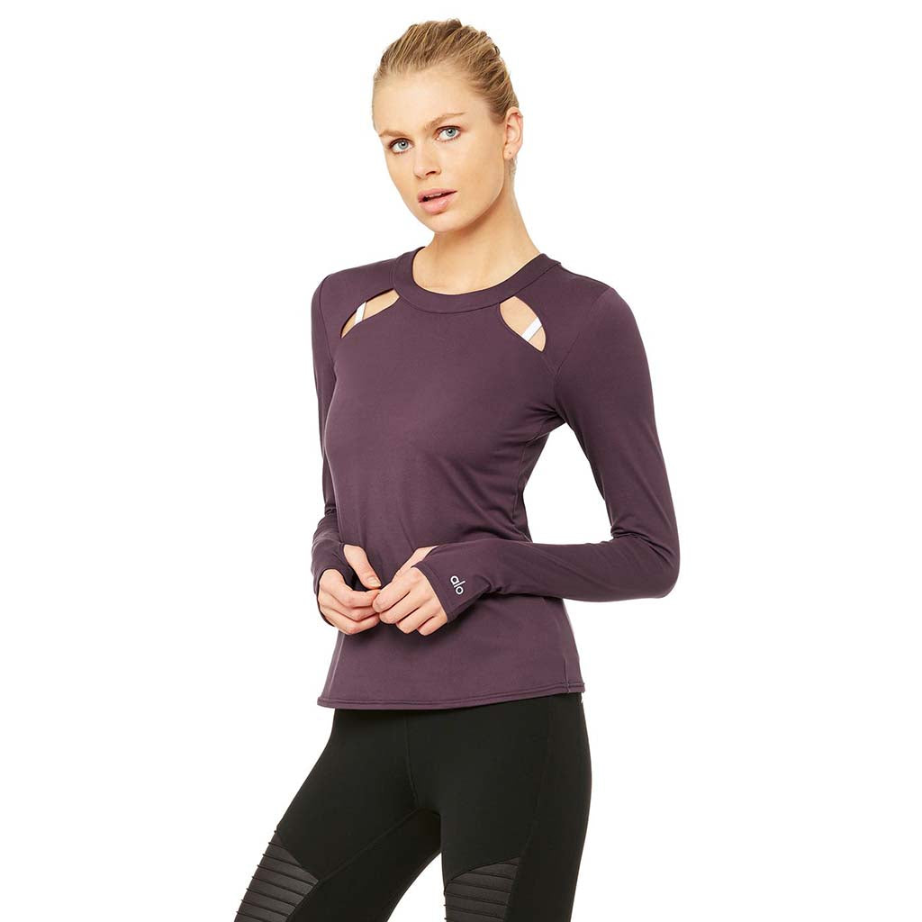 alo Yoga Mantra chandail manches longues eggplant Soccer Sport Fitness