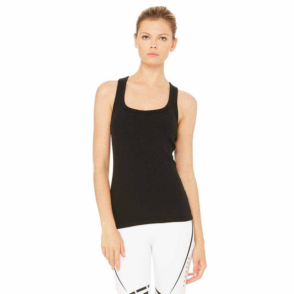 alo Yoga Rib Support Tank top pour femme noir Soccer Sport Fitness
