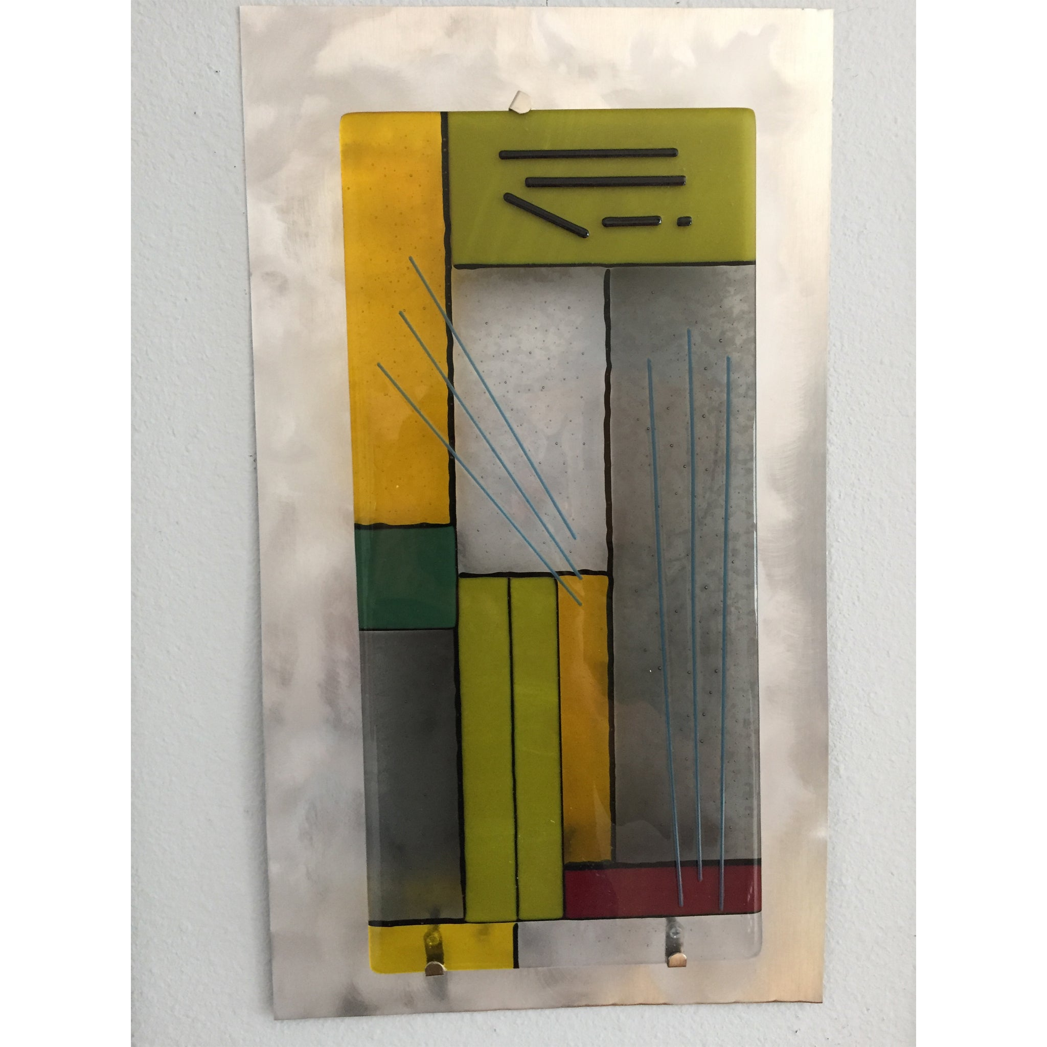 GP001-Single Wall Panel in Mondrian-Style on Stainless Steel Copy w 2048