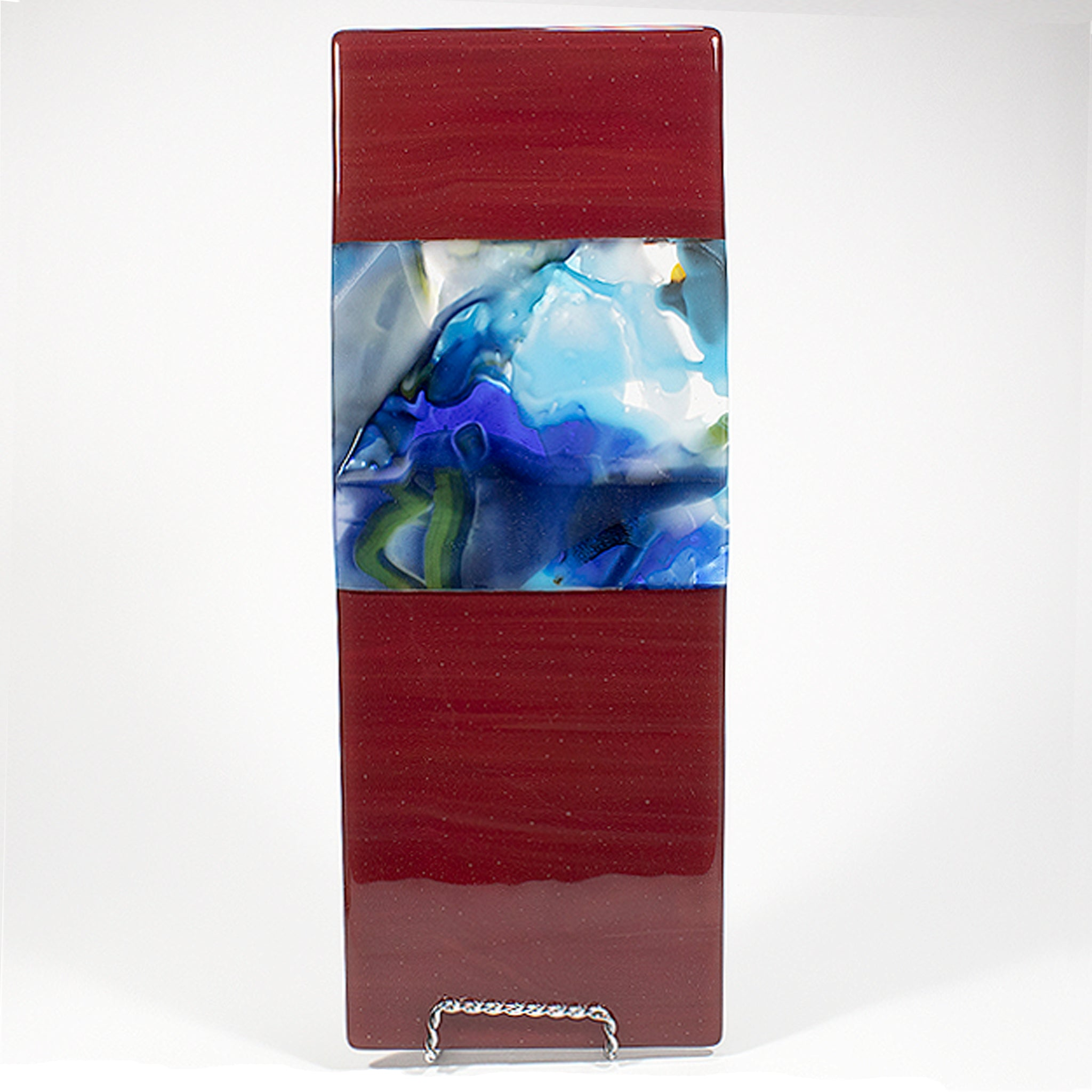 GP007-Single Wall Panel Deep Red Opal with Blue-toned Ringmelt section