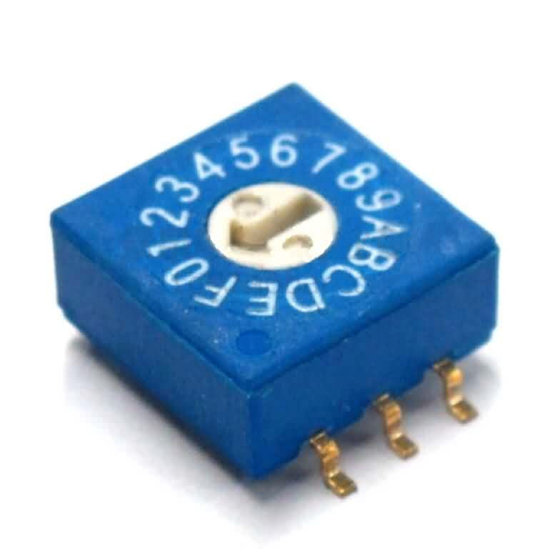 Firgelli Robots 3:3 Through-hole / SMD Rotary DIP Switch - 16 Position Flat Type