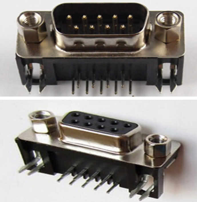 Firgelli Robots Right Angle 9-Pin RS232 Pin-out - Male / Female --Solder Type
