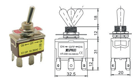 Toggle Switch for Actuators or Motors (DPDT)