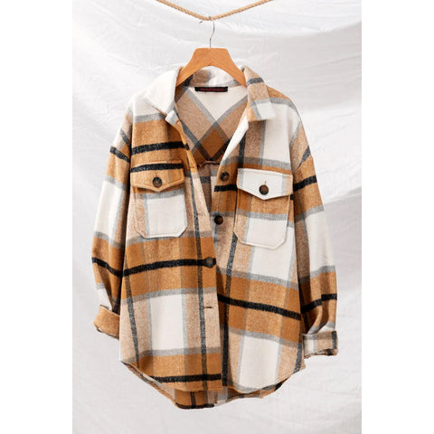 trend:notes - CHECKERED OVERSIZED BUTTON DOWN JACKET - Brown