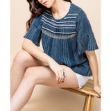 THML - Open back stripe stitched top - Navy