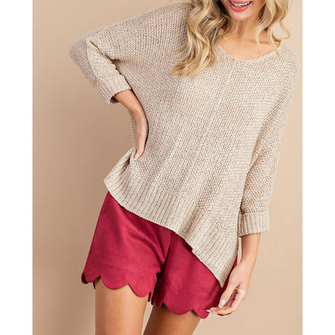 ee:some - CREW NECK KNIT SWEATER - Oatmeal