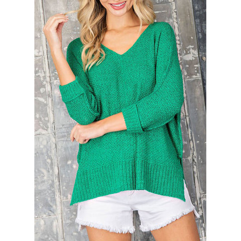 ee:some - CREW NECK KNIT SWEATER - Kelly Green