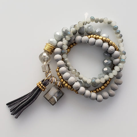 Gray Tassel & Beaded Bracelet Set