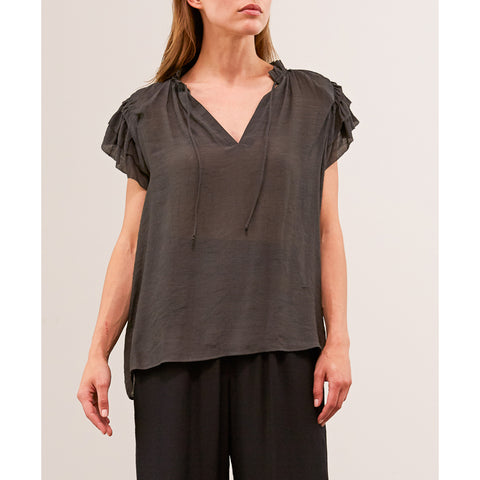 Grade & Gather - RUFFLE SLEEVE BLOUSE - Coal
