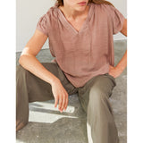 Grade & Gather - RUFFLE SLEEVE BLOUSE - Dry rose
