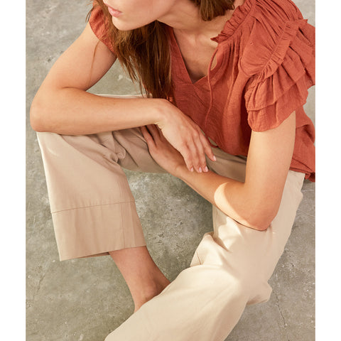 Grade & Gather - RUFFLE SLEEVE BLOUSE - Red Clay