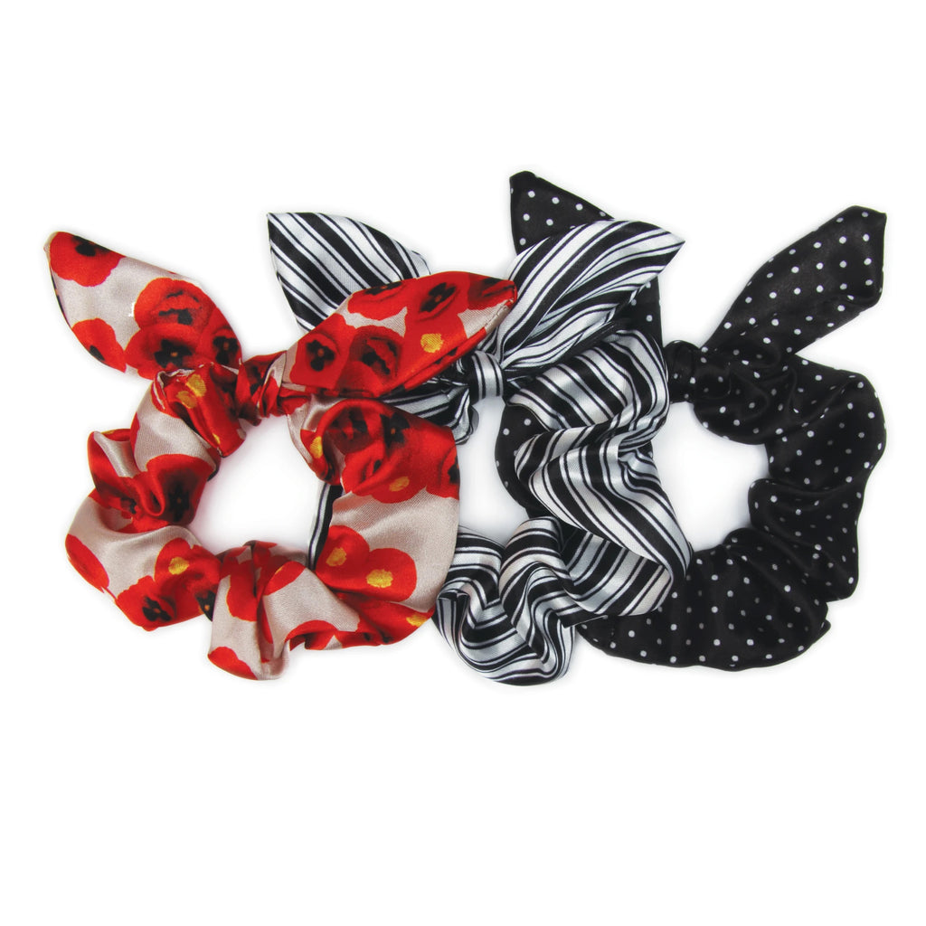 Banded - Poppy Chic - 3 Pack Bow Scrunchies