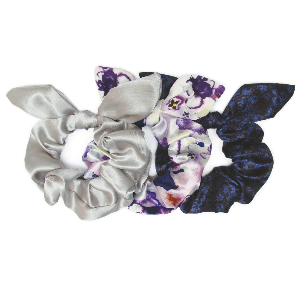 Banded - Pansy Brocade - 3 Pack Bow Scrunchies