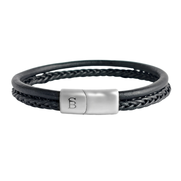 Steel and Barnett - Leather Bracelet Denby - Black - Large