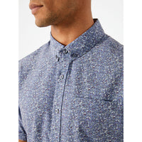 7 Diamonds - At First Sight 4-Way Stretch Short Sleeve Shirt - Dusty Blue
