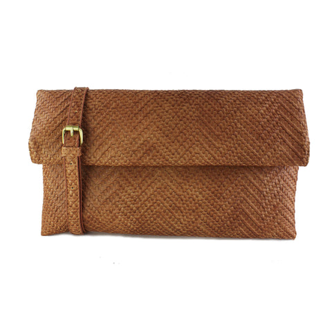 Street Level - Tan Woven Foldover Clutch