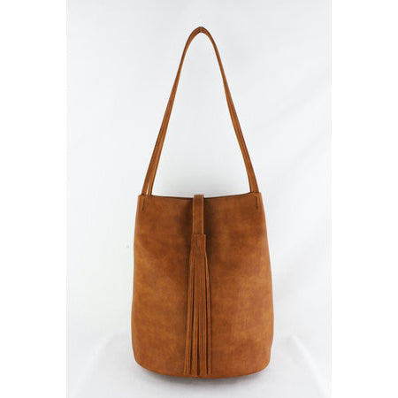 Street Level - Brown Shoulder Bag with Suede Tassel Accent