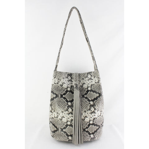 Street Level - Snake Shoulder Bag with Suede Tassel Accent