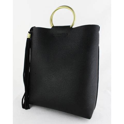 Street Level - Black Tote with Ring Handles