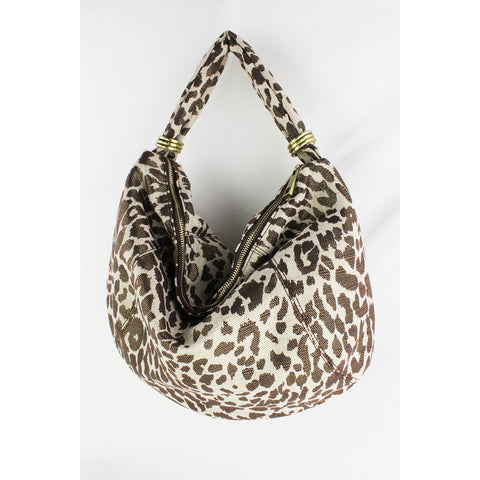 Street Level - Leopard Shoulder Hobo Bag with Rings