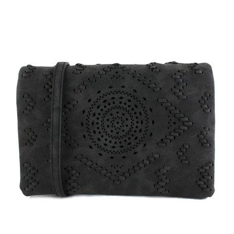 Street Level - Black Small Crossbody with Laser Cut Detail