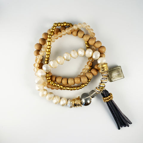 Tassel & Beaded Bracelet Set