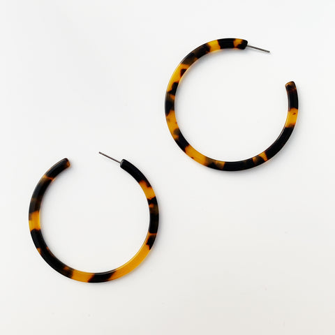 Acrylic 57mm Open Hoops - Brown/Tortoise