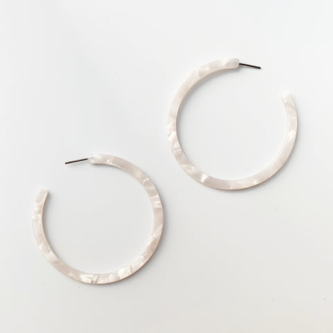 Acrylic 57mm Open Hoops - White