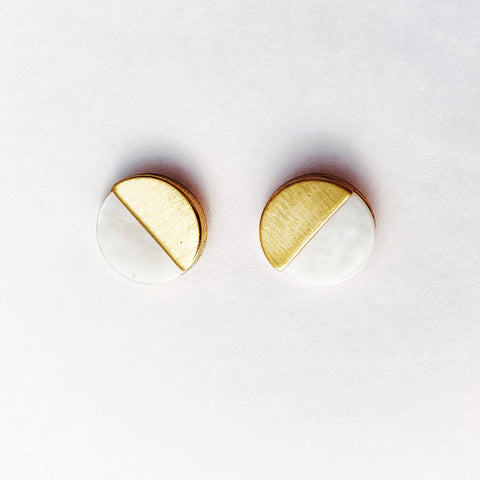 Stone Wedge Studs - Mother of Pearl