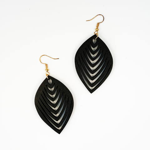 Wood Leaf Earrings - Black