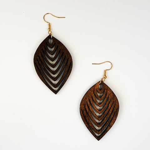 Wood Leaf Earrings - Brown