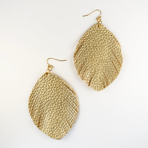 Leather Feather Earrings - Gold