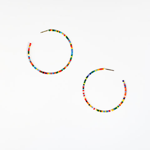 60mm Seed Bead Open Hoops