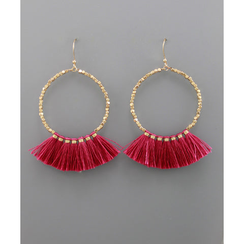 Fuchsia Fan Circle Earrings