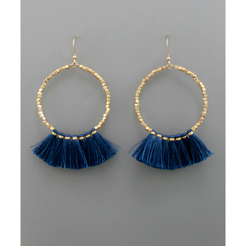 BLUE FAN CIRCLE EARRINGS