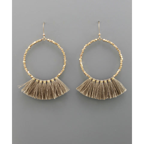 TAUPE FAN CIRCLE EARRINGS