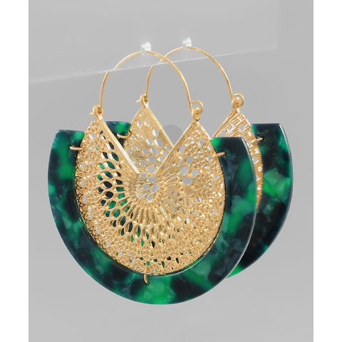GREEN AND WORN GOLD EARRINGS