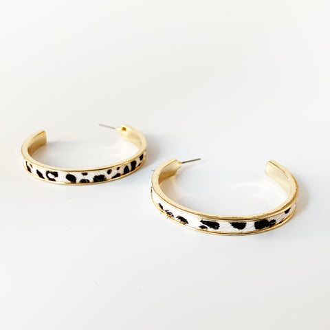 50mm Cowhide Open Hoops - Ivory/Cheetah