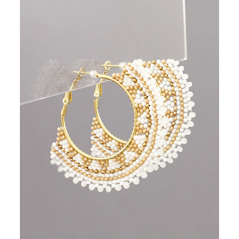 WHITE BEAD FAN EARRINGS