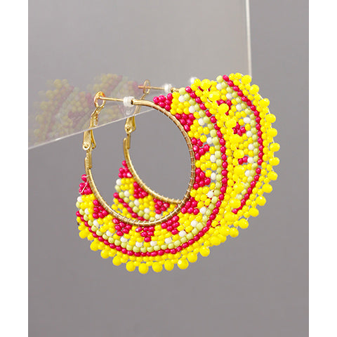 YELLOW AND PINK BEAD FAN EARRINGS