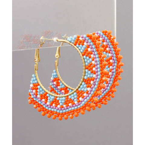ORANGE MULTI-COLOR BEAD FAN EARRINGS