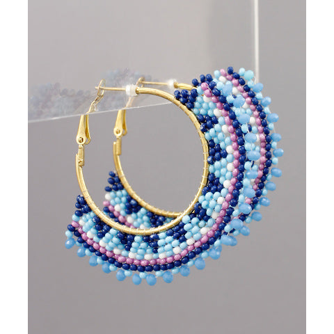 BLUE MULTI-COLOR BEAD FAN EARRINGS