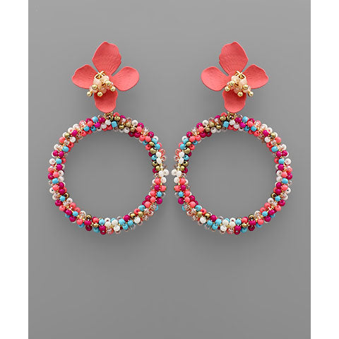 PINK FLOWER AND BEAD CIRCLE EARRINGS