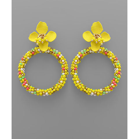 YELLOW FLOWER AND BEAD CIRCLE EARRINGS