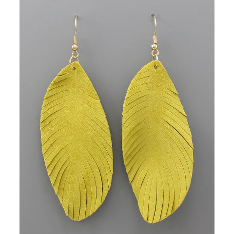 YELLOW LEATHER FEATHER EARRINGS