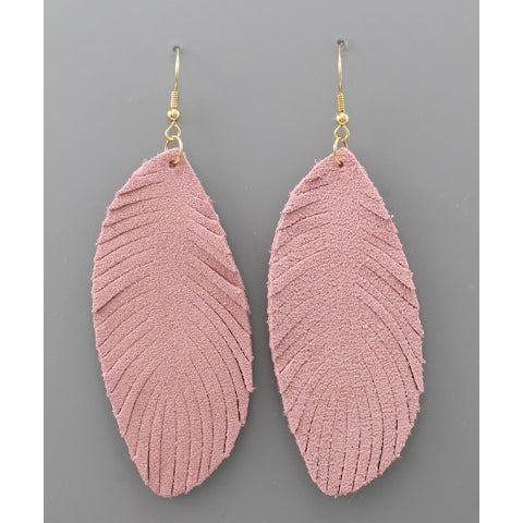 PINK LEATHER FEATHER EARRINGS