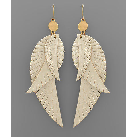 IVORY LAYER FEATHER EARRINGS