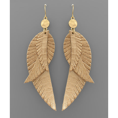 GOLD LAYER FEATHER EARRINGS